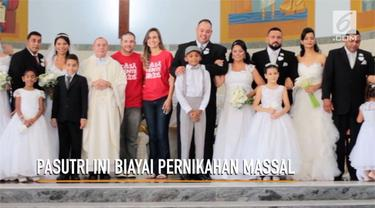 Pengantin baru asal Brazil menunda bulan madu demi membiayai sebuah pernikahan massal.