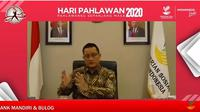 Menteri Sosial Juliari P. Batubara saat menjadi narasumber Webinar Kepahlawanan yang digelar Kemensos di Jakarta, Senin (09/11/2020).
