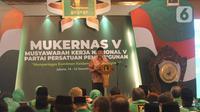 Menko Polhukam Mahfud Md menyampaikan sambutan saat membuka Musyawarah Kerja Nasional (Mukernas) ke V PPP di Jakarta, Sabtu (14/12/2019). Salah satu agenda yang akan dibahas dalam acara ini adalah pelaksanaan Muktamar PPP. (Liputan6.com/Angga Yuniar)