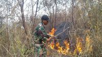 Nampak seorang anggota TNI tengah memadamkan titik api musibah kebakaran di kawasan Gunung Guntur, Garut, Jawa Barat (Liputan6.com/Jayadi Supriadin)