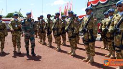 Citizen6, Kongo: Satuan Tugas Kompi Zeni (Satgas Kizi) TNI Konga XX-H/Monusco, mendapat medali PBB setelah bertugas selama enam bulan di Kongo. (Pengirim: Badarudin Bakri)