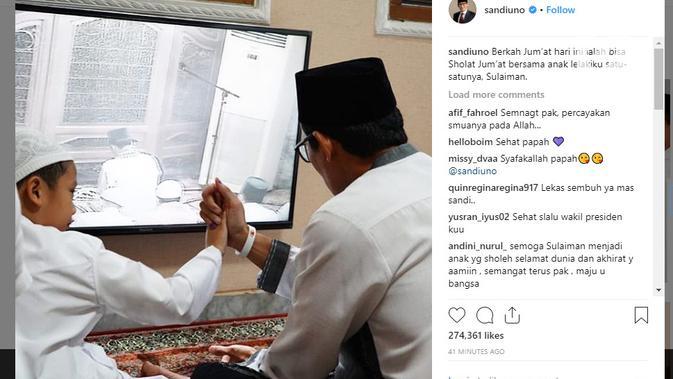 Sandiaga Uno mengunggah sebuah foto kebersamaannya bersama sang putra, Sulaiman, di Instagram (Foto: Instagram/ @sandiuno)