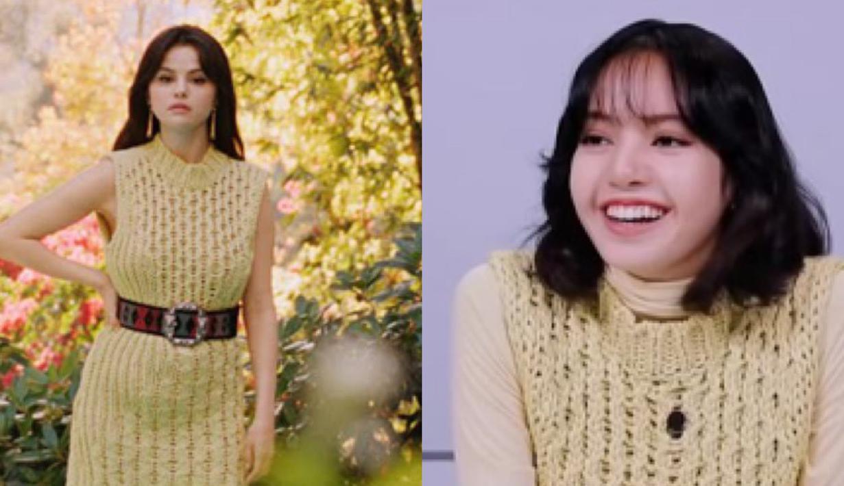 Lisa dan Selena terlihat pernah mengenakan gaun rajutan dariSalvatoreFerragamo seharga 990 dollar. Bedanya Lisa mengenakan dalam turtleneck. Sedangkan Selana menggenakan belt. Dok. Koreaboo