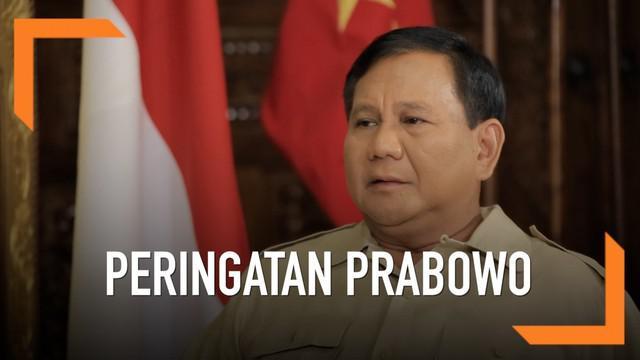 Calon Presiden nomor urut 2, Prabowo Subianto menjelaskan bahwa selama ini kritikannya terhadap pemerintah adalah peringatan akan potensi bahaya yang mungkin akan dihadapi bangsa Indonesia.