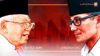 Banner Headline Adu Amunisi Ma'ruf Amin Vs Sandiaga Uno. (Liputan6.com/Abdillah)