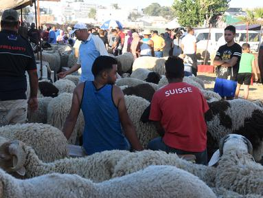Orang-orang mengunjungi pasar ternak menjelang Hari Raya Idul Adha di Tunis, Tunisia, pada 20 Juli 2020. Hari Raya Idul Adha merupakan salah satu hari raya umat Islam yang dirayakan di seluruh dunia. (Xinhua/Adel Ezzine)