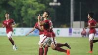 Striker Timnas U-19, Dimas Drajad merayakan gol yang dicetaknya ke gawang Thailand. (PSSI)