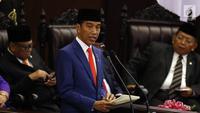 Presiden Joko Widodo menyampaikan pidatonya dalam Sidang Paripurna di Gedung DPR, Jakarta, Jumat (16/8/2019). Nantinya DPR akan membahas RAPBN 2020 untuk selanjutnya disahkan menjadi UU. (Liputan6.com/JohanTallo)