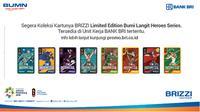Menyambut Asian Games 2018, PT Bank BRI meluncurkan 8 seri Kartu BRIZZI edisi khusus Bumi Langit Heroes Series.