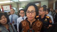 Menteri Keuangan Sri Mulyani di kantor pusat Ditjen Bea dan Cukai, Jakarta, Rabu (8/11/2017). (Fiki/Liputan6.com)