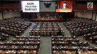 Suasana Rapat Paripurna ke-19 di Kompleks Parlemen, Senayan, Jakarta, Senin (5/3). Pada masa persidangan III sebelumnya, 9 Januari hingga 14 Februari 2018, DPR telah menyetujui perubahan kedua UU No 17 tahun 2014 tentang MD3. (Merdeka.com/Iqbal Nugroho)
