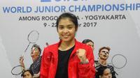 Gregoria Mariska Tunjung akan menghadapi Han Yue pad afinal Kejuaraan Dunia Junior 2017. (Liputan6.com/Switzy Sabandar)