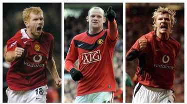 Nama besar Manchester United menjadi magnet bagi para pemain dari penjuru dunia untuk memperkuat Setan Merah. Tak terkecuali para pemain lokal Inggris. Dengan talenta memikat, mereka mampu bertahan dan memperoleh penampilan terbanyak. Siapa saja mereka? (Kolase Foto AFP)