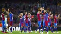 Sementara Real Sociedad hanya mampu memperkecil kedudukan melalui Julen Lobete dan Mikel Oyarzabal. (Foto: AP/Joan Monfort)
