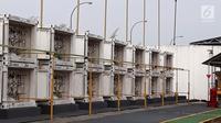 Deretan gardu Pembangkit Listrik Tenaga Gas (PLTG) Jakabaring yang terletak di Palembang, Sumatera Selatan, Jumat (9/2). PLN memastikan kondisi listrik aman saat Asian Games 2018. (Liputan6.com/Agustina)