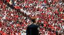 Bukan hanya di Hongaria, Dalam keterangan resminya UEFA menyebut memberikan orotitas sepenuhnya kepada federasi lokal mengenai jumlah penonton yang dibolehkan datang langsung ke stadion. (Foto: AFP/Pool/Bernadett Szabo)