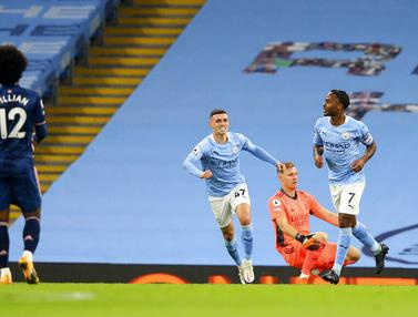 FOTO: Gol Tunggal Raheem Sterling Bawa Manchester City Taklukkan Arsenal