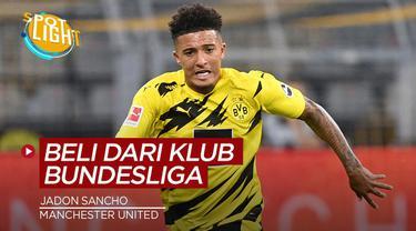 Berita video spotlight yang membahas tentang empat pembelian Manchester United dari klub Bundesliga sebelum Jadon Sancho.