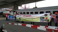Sosialisasi digelar di perlintasan JPL Nomor 02 Kilometer 0 + 690 lintas Medan-Belawan-Medan-Binjai.