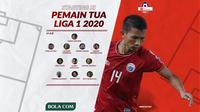 Starting XI Pemain Tua di Liga 1 2020. (Bola.com/Dody Iryawan)