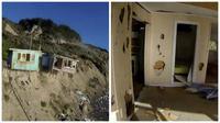 Sebuah rumah di atas tebing tepi laut direkam sedang menuju akhir masa pakainya dan perlahan terhempas ke laut di dasar tebing.