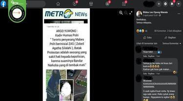 Gambar Tangkapan Layar Klaim Pelaku Penyerang Mabes Polri Seorang Istri Bandar Narkoba (sumber: Facebook)
