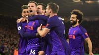 Para pemain Liverpool merayakan gol ke gawang Southampton. (AFP/Glyn Kirk)