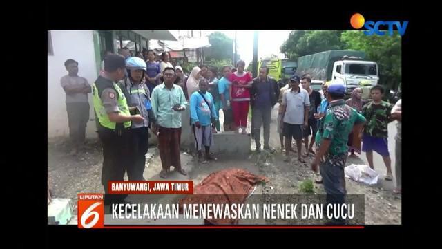 Seorang nenek dan cucu di Banyuwangi, Jawa Timur, tewas saat motor oleng menabrak pembatas jalan.