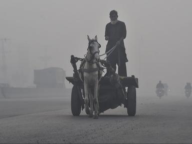 Seorang lelaki menunggang kuda di tengah kondisi kabut asap tebal di Lahore, Pakistan (21/11/2019). Lahore pada hari Kamis (21/11) menduduki peringkat global untuk kota dengan kualitas udara terburuk dan berbahaya. (AFP Photo/Arif Ali)