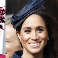 Dari gaun hingga riasan, penampilan Kate Middleton dan Meghan Markle cukup kontras di pernikahan Putri Eugenie (foto: instagram/theroyalcourier-hattabelles)