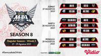 Jadwal dan Live streaming MPL Indonesia Season 8 Pekan Ini di Vidio, 27-29 Agustus 2021. (Sumber : dok. vidio.com)