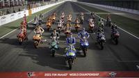 Pembalap MotoGP 2021 foto bersama di Sirkuit Losail, Qatar, Kamis (25/03/2021).