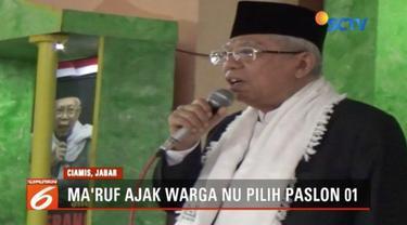 Ma'ruf Amin ajak warga Nahdlatul Ulama pilih paslon nomor urut 01 karena Jokowi cinta ulama.
