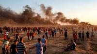 Aksi demonstrasi yang terjadi pada Jumat (21/9) di perbatasan Gaza menewaskan satu warga Palestina (AFP)