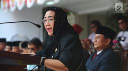 Ketua Yayasan Pendidikan Bung Karno Rachmawati Soekarnoputri memberikan pidato kebangsaan saat mengikuti Upacara Peringatan Detik-detik Proklamasi Kemerdekaan ke-73 di UBK, Jakarta, Jumat (17/8).(merdeka.com/imam buhori)