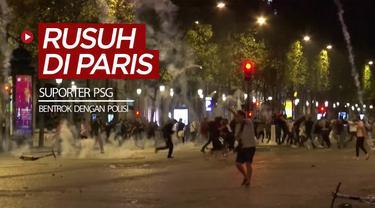 Berita video suporter PSG bentrok dengan polisi di Paris, Prancis, setelah tim kesayangan mereka kalah di final Liga Champions, Senin (24/8/2020) dinihari WIB.