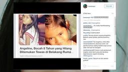 """""""RIP (tanda menangis),"""" tulis Luna di caption foto yang diunggah bersamaan dengan berita tentang meninggalnya Angeline dalam akun Instagram pribadinya @lunamaya. (instagram.com/lunamaya)"""