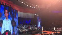 Presiden terpilih Jokowi dalam pidato di Sentul International Convention Center, Minggu (14/7/2019). (Liputan6.com/ Putu Merta Surya Putra)