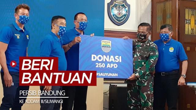 Berita video memberi bantuan 250 APD (Alat Pelindung Diri) dan 10.000 masker untuk penanganan COVID-19 ke Kodam III/Siliwangi.