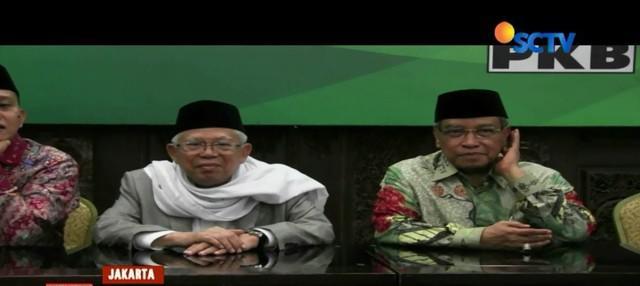 Usai dideklarasikan sebagai cawapres pendamping Jokowi, Ma'ruf Amin sambangi DPP PKB ditemani Said Aqil Siradj.