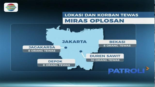 Jumlah korban minuman keras oplosan terus bertambah dan meluas ke sejumlah daerah. Di Tangerang Selatan, Banten dua orang dilaporkan tewas. Sedangkan di Cianjur, dua orang dalam kondisi kritis dibawa ke rumah sakit, akibat menenggak miras oplosan.