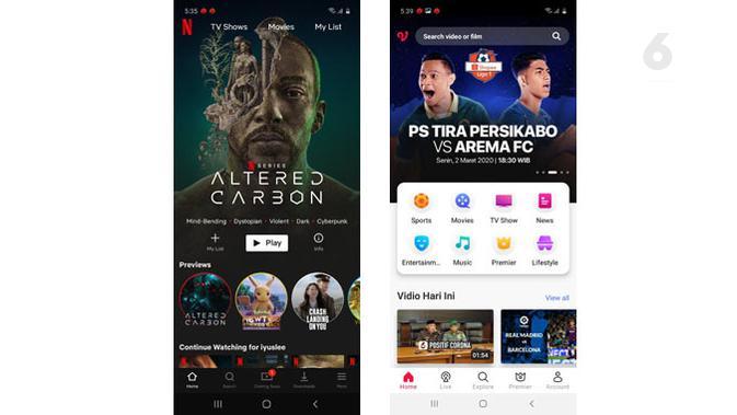 Coba Netflix dan Vidio di Galaxy A71. (Liputan6.com/ Yuslianson)