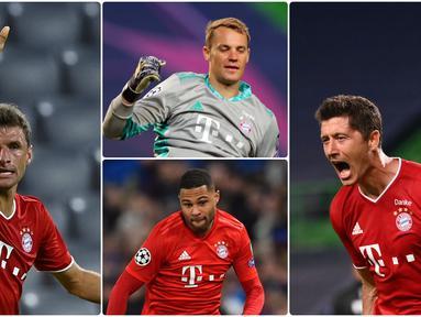 Bayern Munchen tinggal selangkah lagi untuk menyabet trofi juara Liga Champions musim ini. Bayern Munchen akan berhadapan dengan PSG pada laga final nanti. Berikut 6 pemain kunci Bayern Munchen untuk meraih gelar juara Liga Champions 2019/2020. (kolase foto AFP)