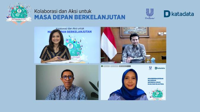 "Webinar Sustainability Day 1 sesi 3: Healthy Planet for All menghadirkan Wagub Jatim Emil Dardak, Country Director of WRI (World Resources Institute) Indonesia Nirarta ""Koni"" Samadhi, dan Maya Tamimi, Head of Environment Unilever Indonesia Foundation. (dok. Unilever)"