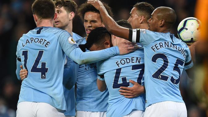 Manchester City meraih kemenangan 2-0 atas Cardiff City. (AFP/Oli Scarff)