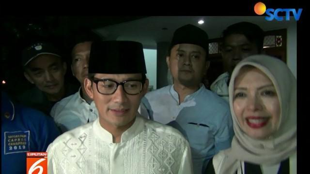 Usai menunaikan salat Nisfu Sya'ban, Sandi yang didampingi sang istri Nur Asia Uno mengaku jika kondisi kesehatannya terus membaik.