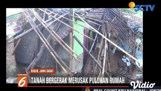 Puluhan rumah warga Nanggung, Bogor, rusak akibat tanah bergerak disertai longsor.
