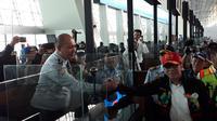 Menteri Hukum dan HAM Yasonna Laoly melakukan inspeksi mendadak (sidak) di Bandara Internasional Soekarno-Hatta. (Liputan6.com/Pramita Tristiawati)