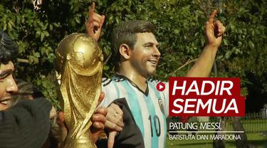 Berita video 6 tahun silam, tepatnya 5 Juni 2014, 3 patung bintang sepak bola Argentina, Diego Maradona, Gabriel Batistuta, dan Lionel Messi hadir bersamaan.