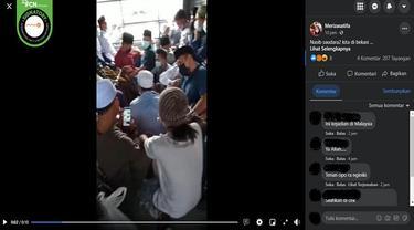 Gambar Tangkapan Layar Video yang Diklaim Warga Bekasi Ditangkap karena Ingin Menjalankan Salat Idul Adha (sumber: Facebook).
